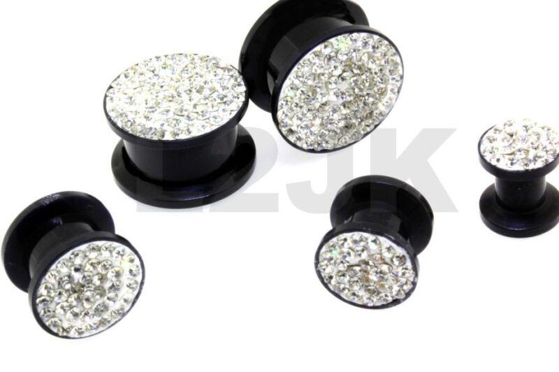 Silver Clear Acrylic CZ Gem Pave Screw Fit Ear Plugs Tunnels Gauges 2G 0G 00G