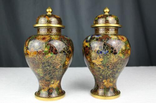 "9"" Pair of floral Cloisonne ginger jar lidded urns, Chinese enamel & brass,"
