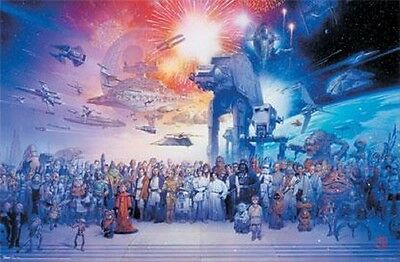STAR WARS GALAXY POSTER WITH ALL CHARACTERS, Size 24x36