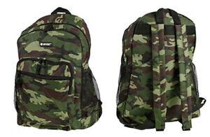 HI-TEC GREEN ARMY CAMOUFLAGE BOYS MENS SCHOOL BACKPACK HIKING RUCKSACK BAG