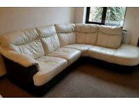 DFS Cream And Black Leather Corner Sofa And Swivel Chair With Half Moon