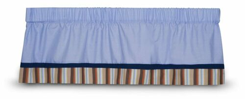 New Kidsline PIRATE PARTY Window Valance Oxford Blue Navy Brown STRIPE Baby