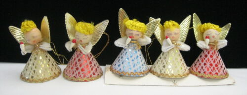 Vintage Japan Spun Cotton Chenille Pipe Cleaner Angel Christmas Ornaments
