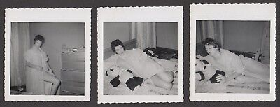 Lqqk 3 Vintage 1950S Originals  Sexy Housewife Next Door Posed In Negligee  99