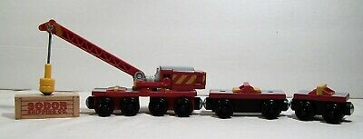 Thomas the Train Crane Rocky with Front & Back Car + Crate Y4379 Wooden Complete