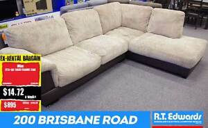 Milan 2 Seater Lounge + Chaise in Camel Cord Booval Ipswich City Preview