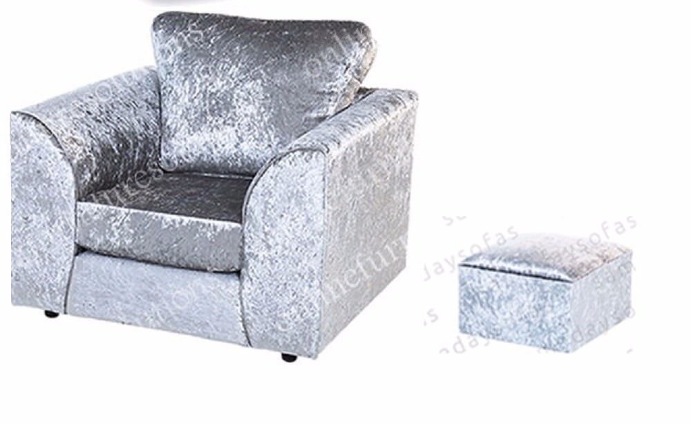 CRUSHED VELVET ARMCHAIR IN SILVER + FREE FOOTSTOOL