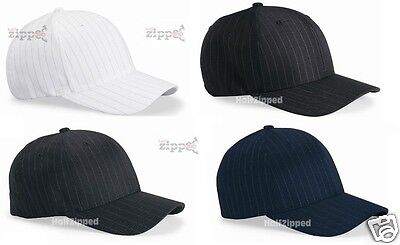 Flex Fit Pinstripe Hat - Flexfit Pinstripe Structured Fitted Cap 6195P Baseball Hat S/M L/XL