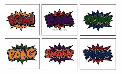 12 Superhero Temporary Tattoos Kid Party Goody Loot Bag Filler Favor Supply - Superhero Goodie Bags