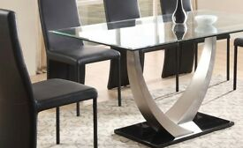 Cassandra Glass and Brushed Chrome Dining Table For Sale (Used but in very good condition)