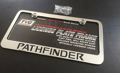 - NISSAN PATHFINDER CHROME LICENSE PLATE FRAME BLACK ENGRAVED LETTERS CAP COVERS