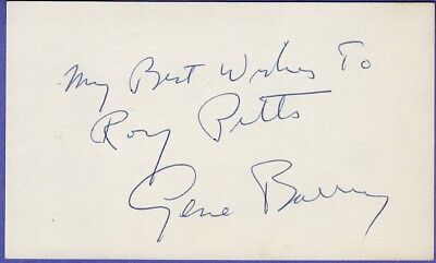 Gene Barry Signed Autographed Index Card dated 1968 from the Melchior Collection