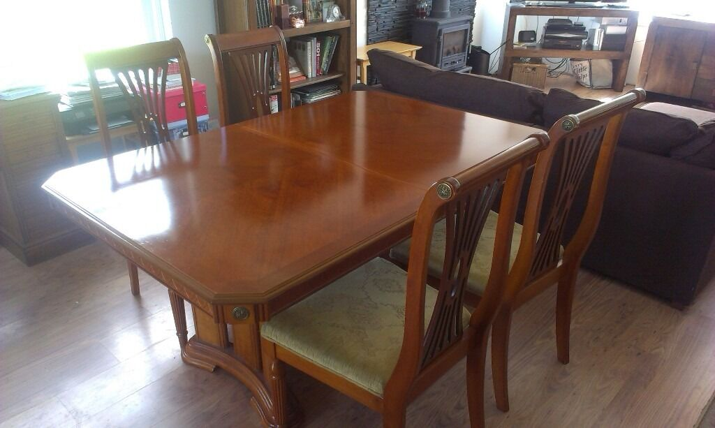 Quality extendable dining table and 6 chairsin Ballymena, County AntrimGumtree - A quality dining table and chairs. Elegant in design with feature carving surround. In great condition