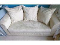 Cream soft double pull out sofa bed
