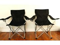 2X Folding camping chairs, armrest and cup holder, black, lightweight, good condition.