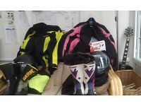 motorcycle riding gear, boots, helmets, gloves, intercom, jackets
