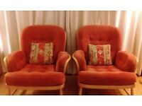 ERCOL ARMCHAIRS, PAIR OF ERCOL JUBILEE CHAIRS