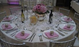 Chair covers, Table linen, cutlery and crockery, charger plates for hire