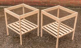 Pair of Ikea Nesna small tables with glass tops