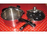 STAINLESS STEEL 4 CUP EGG POACHER AND SAUCEPAN/CHIP PAN