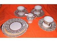 16 piece Vintage Fine English China Tea Set 22 Carat Gold Plated