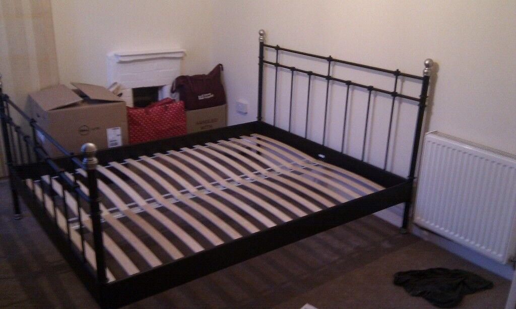 IKEA King size double bed frame, black   in Exeter, Devon   Gumtree