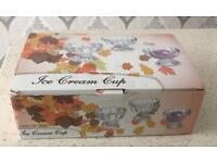 A BOX OF 6 GLASS DESSERT BOWLS/CUPS (BRAND NEW)