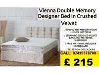 NEW OFFER Double Crush Velvet Divan Bed Complete Bed Set Headboard and Memory Foam