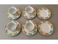 Royal Norfolk Tea Cups and saucers Set Fruit Summer Porcelain Pottery