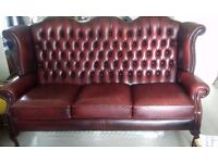 Vintage 3 Seater Ox Blood Chesterfield Sofa