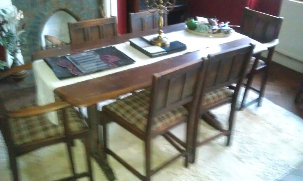 1950s Oak Dining Table Chairs And Sideboard In Swindon