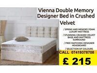 NEW OFFER Double Crush Velvet Divan Bed Complete Bed Set Headboard and Memory Foam