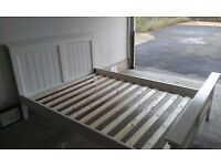 Double Bed Frame, White Wood, Free Local Delivery