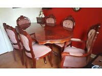 Italian Inlaid Rococo Dining Table & 6 Chairs - Very Good Condition/ Well Looked After