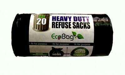 Ecobag Heavy Duty Refuse Sacks Black 20 x 100L - 224