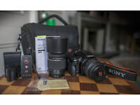 Sony Alpha 55 compact digital camera kit, complete with two Sony lenses etc., in great condition
