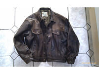 Men's brown leather jacket (classic denim style design). Used