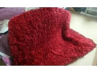 LARGE RED/BERRY LONG PILE RUG