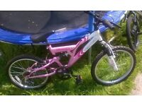 Girls Pink and White Mountain Bike