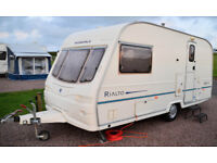 Avondale Rialto 480-2 Two Berth Caravan with End Bathroom, Motor Mover & Full Awning