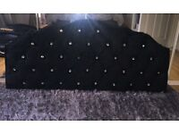 Nearly new black crushed velvet diamanté double headboard