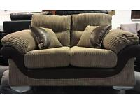 Nutmeg cord & brown Faux Leather 2 Seater Sofa (New ex display)