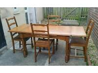 ANTIQUE PINE EXTENDABLE TABLE AND 4 LADDERBACK CHAIRS