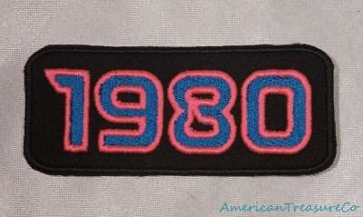 Embroidered Retro Vintage 80s Neon Hot Pink & Blue 1980 Year Patch Iron On USA