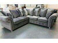 Rimni Grey Plush Corner Sofa Suite Couch BRAND NEW