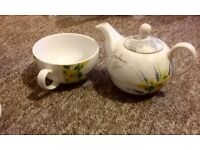 One combined tea pot and cup
