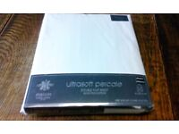 Brand New BHS White Ultrasoft Percale Double Flat Sheet 180 Thread Count