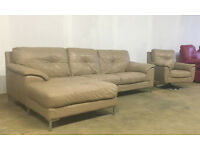 DFS beige leather corner sofa and swivel chair DELIVERY AVAILABLE