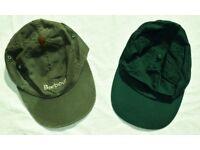 Bundle of x2 Green Adjustable Baseball Caps / Peaked Hats inc Barbour