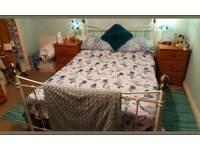 Cream metal double bed (No mattress)
